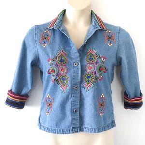 Vintage 80s rainbow embroidery denim button down